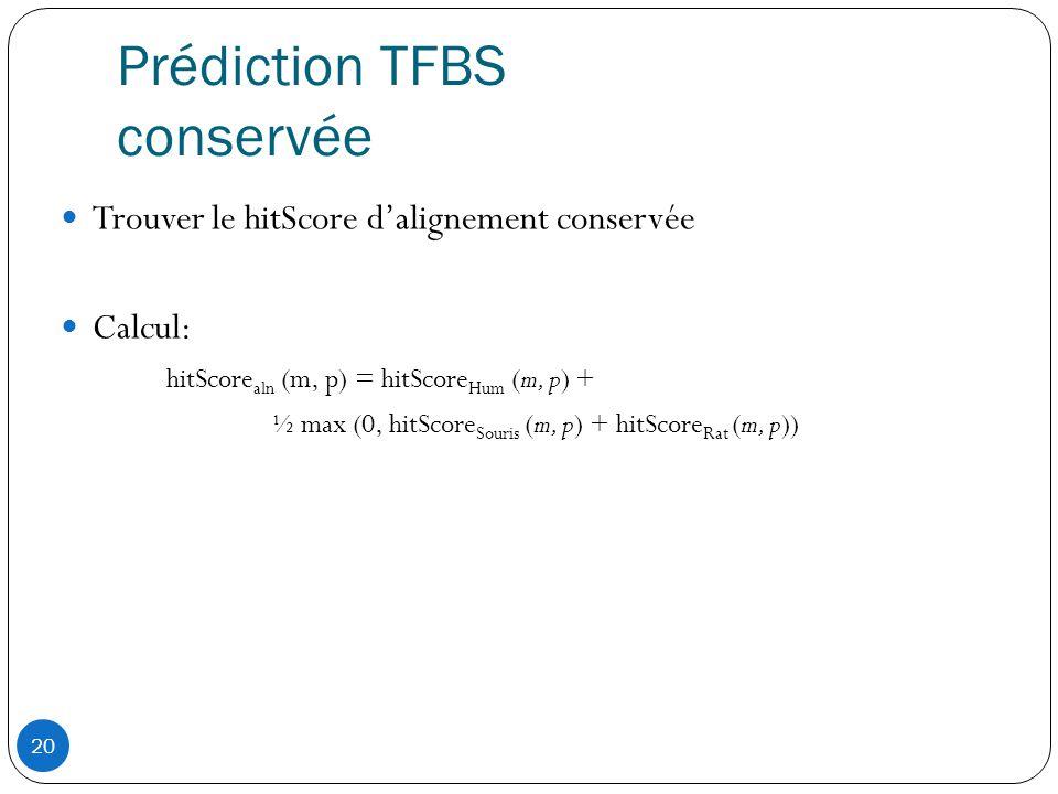 20 Prédiction TFBS conservée  Trouver le hitScore d'alignement conservée  Calcul: hitScore aln (m, p) = hitScore Hum (m, p) + ½ max (0, hitScore Souris (m, p) + hitScore Rat (m, p))
