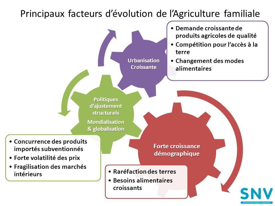 Principaux facteurs d'évolution de l'Agriculture familiale Forte croissance démographique •Raréfaction des terres •Besoins alimentaires croissants Pol