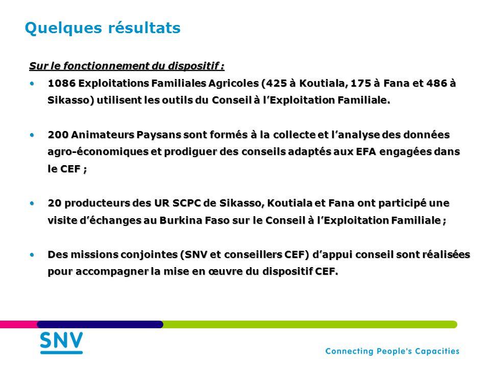 Quelques résultats Sur le fonctionnement du dispositif : •1086 Exploitations Familiales Agricoles (425 à Koutiala, 175 à Fana et 486 à Sikasso) utilisent les outils du Conseil à l'Exploitation Familiale.