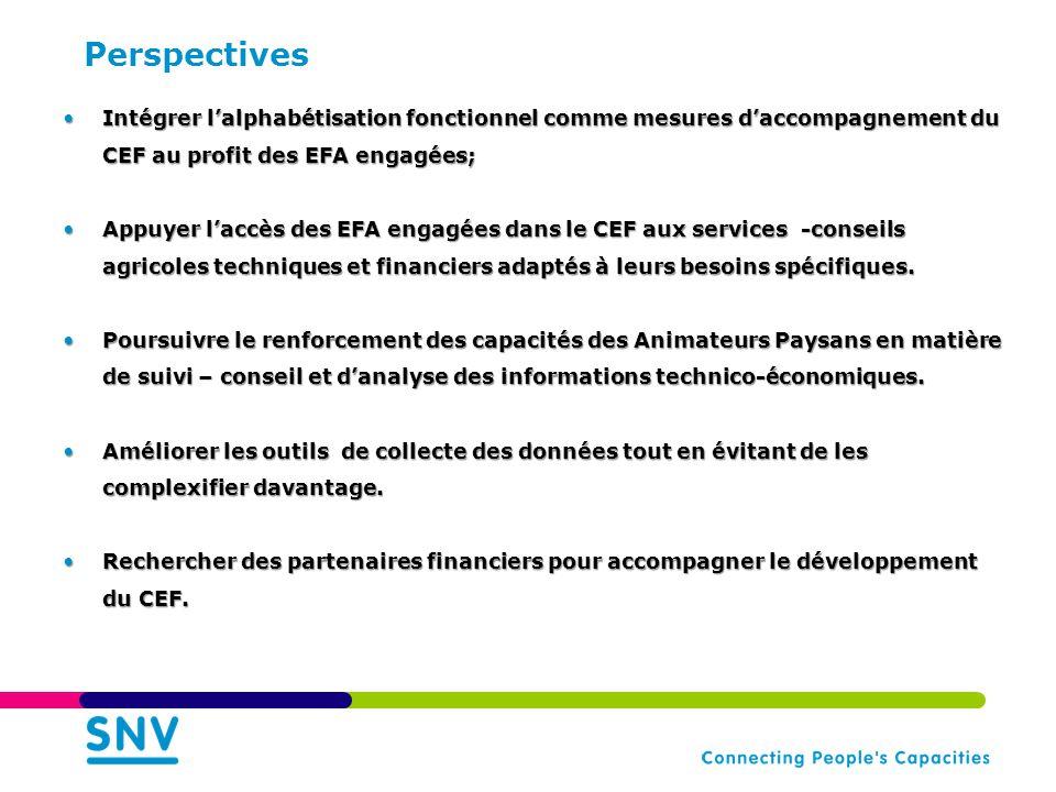 Perspectives •Intégrer l'alphabétisation fonctionnel comme mesures d'accompagnement du CEF au profit des EFA engagées; •Appuyer l'accès des EFA engagées dans le CEF aux services -conseils agricoles techniques et financiers adaptés à leurs besoins spécifiques.