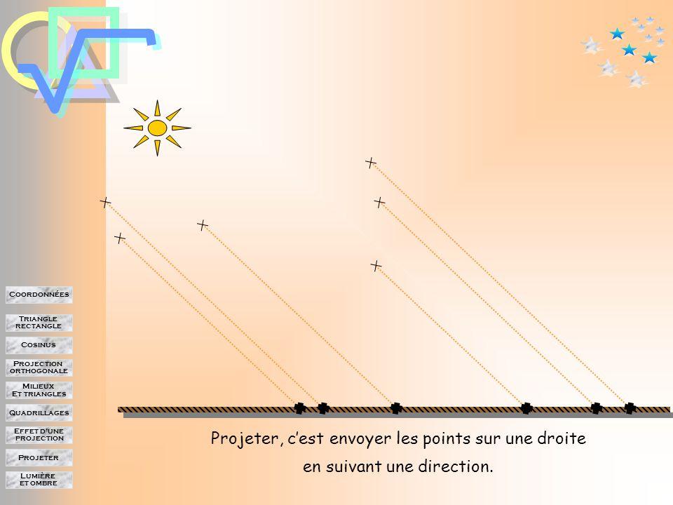 Lumière et ombre Projeter Effet d'une projection Quadrillages Milieux Et triangles Projection orthogonale Cosinus Triangle rectangle Coordonnées Différents points projettent leur ombre sur le sol.
