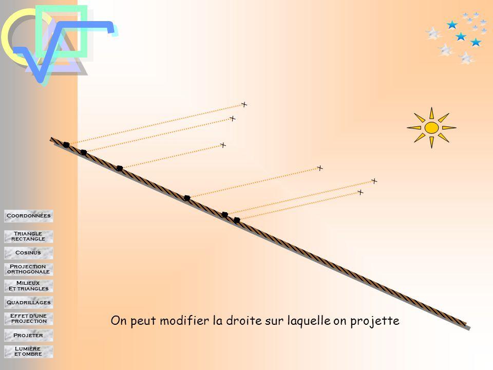Lumière et ombre Projeter Effet d'une projection Quadrillages Milieux Et triangles Projection orthogonale Cosinus Triangle rectangle Coordonnées On peut modifier la droite sur laquelle on projette