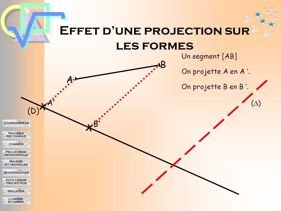 Lumière et ombre Projeter Effet d'une projection Quadrillages Milieux Et triangles Projection orthogonale Cosinus Triangle rectangle Coordonnées A (D) ()() A'A' B C E B'B' C'C' E'E'
