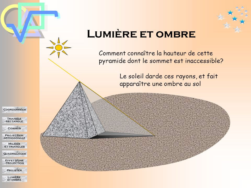 Lumière et ombre Projeter Effet d'une projection Quadrillages Milieux Et triangles Projection orthogonale Cosinus Triangle rectangle Coordonnées Projection, cosinus et trigonométrie.