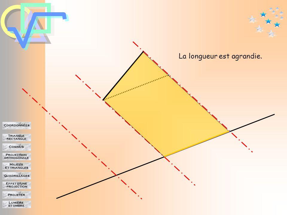 Lumière et ombre Projeter Effet d'une projection Quadrillages Milieux Et triangles Projection orthogonale Cosinus Triangle rectangle Coordonnées Effet d'une projection sur les longueurs La longueur est conservée.