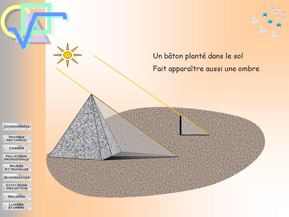 Lumière et ombre Projeter Effet d'une projection Quadrillages Milieux Et triangles Projection orthogonale Cosinus Triangle rectangle Coordonnées Lumière et ombre Comment connaître la hauteur de cette pyramide dont le sommet est inaccessible.