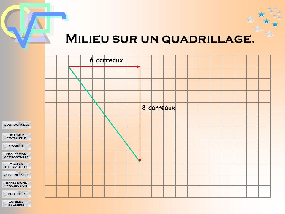 Lumière et ombre Projeter Effet d'une projection Quadrillages Milieux Et triangles Projection orthogonale Cosinus Triangle rectangle Coordonnées Projection et milieu Donc la projection conserve le milieu.