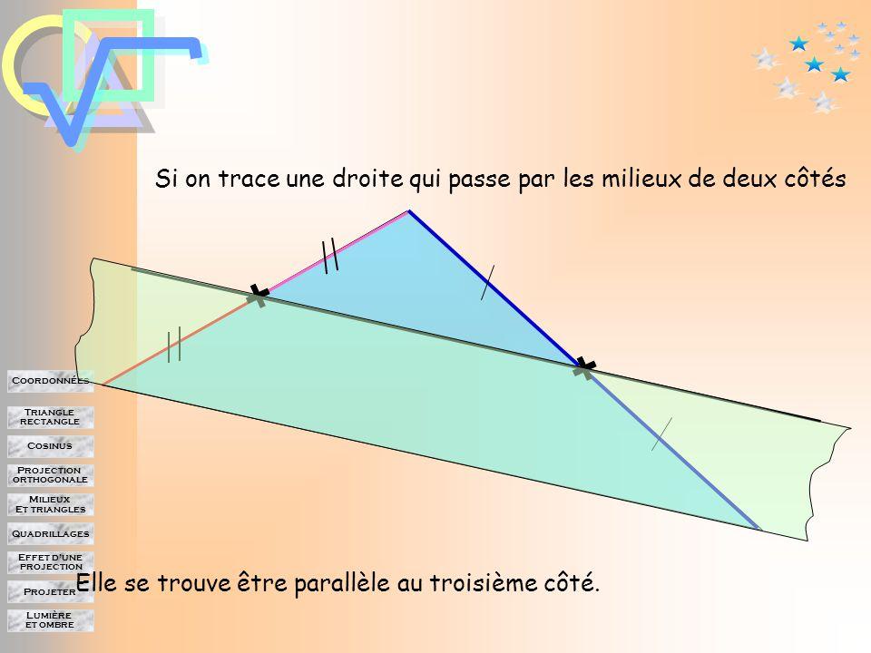 Lumière et ombre Projeter Effet d'une projection Quadrillages Milieux Et triangles Projection orthogonale Cosinus Triangle rectangle Coordonnées Milieux dans le triangle Elle coupe le troisième côté en son milieu On trace la parallèle au deuxième côté.