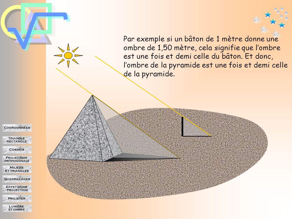 Lumière et ombre Projeter Effet d'une projection Quadrillages Milieux Et triangles Projection orthogonale Cosinus Triangle rectangle Coordonnées On peut mesurer les longueurs du bâton et de son ombre.