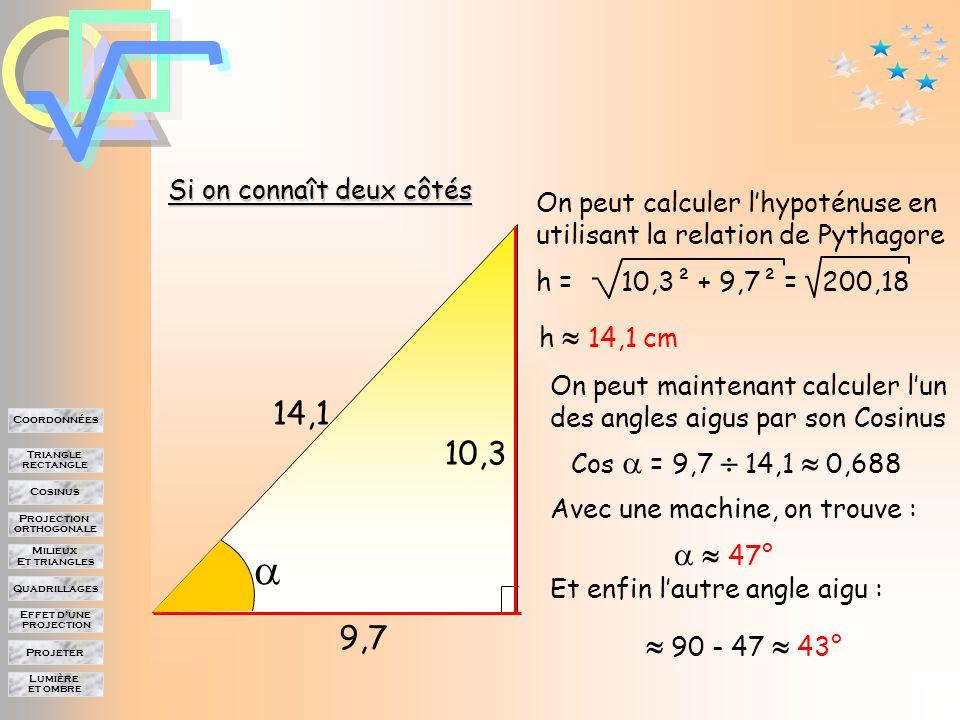 Lumière et ombre Projeter Effet d'une projection Quadrillages Milieux Et triangles Projection orthogonale Cosinus Triangle rectangle Coordonnées Si on connaît deux côtés 10,3 9,7 On peut calculer l'hypoténuse en utilisant la relation de Pythagore h h = 10,3² + 9,7² = 200,18 h  14,1 cm