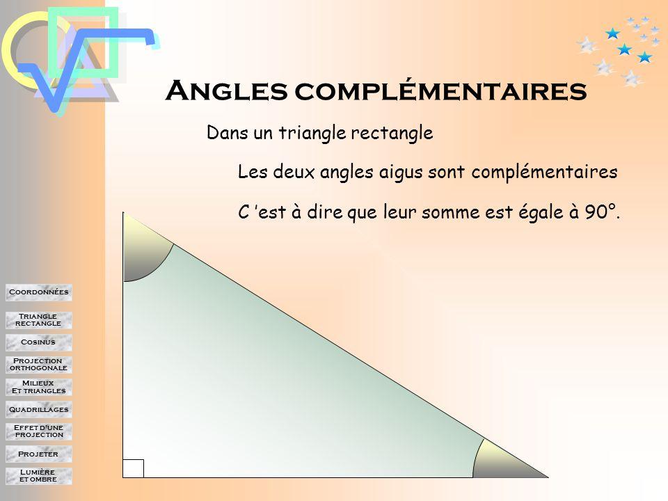 Lumière et ombre Projeter Effet d'une projection Quadrillages Milieux Et triangles Projection orthogonale Cosinus Triangle rectangle Coordonnées Quelques valeurs particulières Angle  Cos  0°30°45°60°90° 10 3 2 2 2 1 2