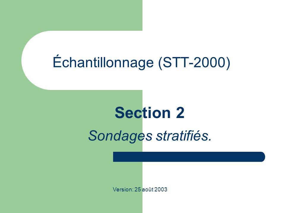 STT-2000; Échantillonnage 2 Sondages stratifiés: quelques motivations  Dans un plan SI: la sélection de l'échantillon se fait totalement au hasard, et ne fait aucun usage de renseignements que l'on pourrait posséder sur les membres de la population.