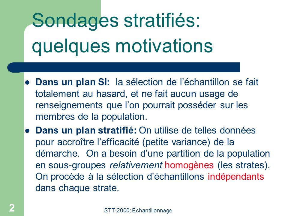 STT-2000; Échantillonnage 2 Sondages stratifiés: quelques motivations  Dans un plan SI: la sélection de l'échantillon se fait totalement au hasard, e