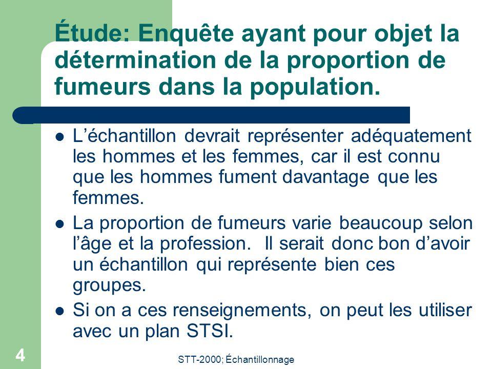 STT-2000; Échantillonnage 5 Choix des variables de stratification  Elles peuvent être qualitatives ou quantitatives.