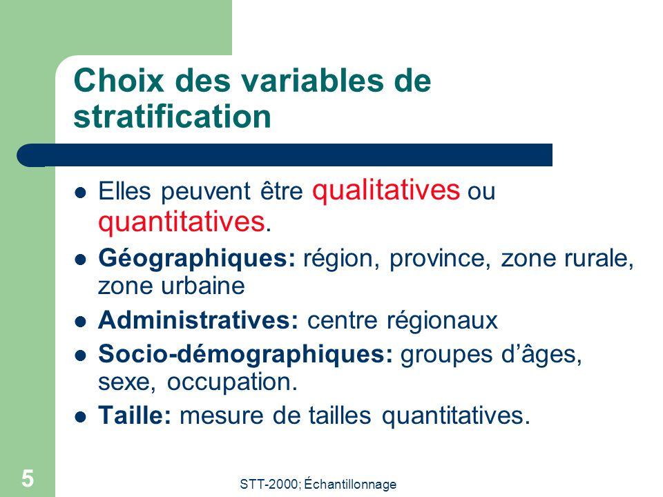 STT-2000; Échantillonnage 5 Choix des variables de stratification  Elles peuvent être qualitatives ou quantitatives.  Géographiques: région, provinc