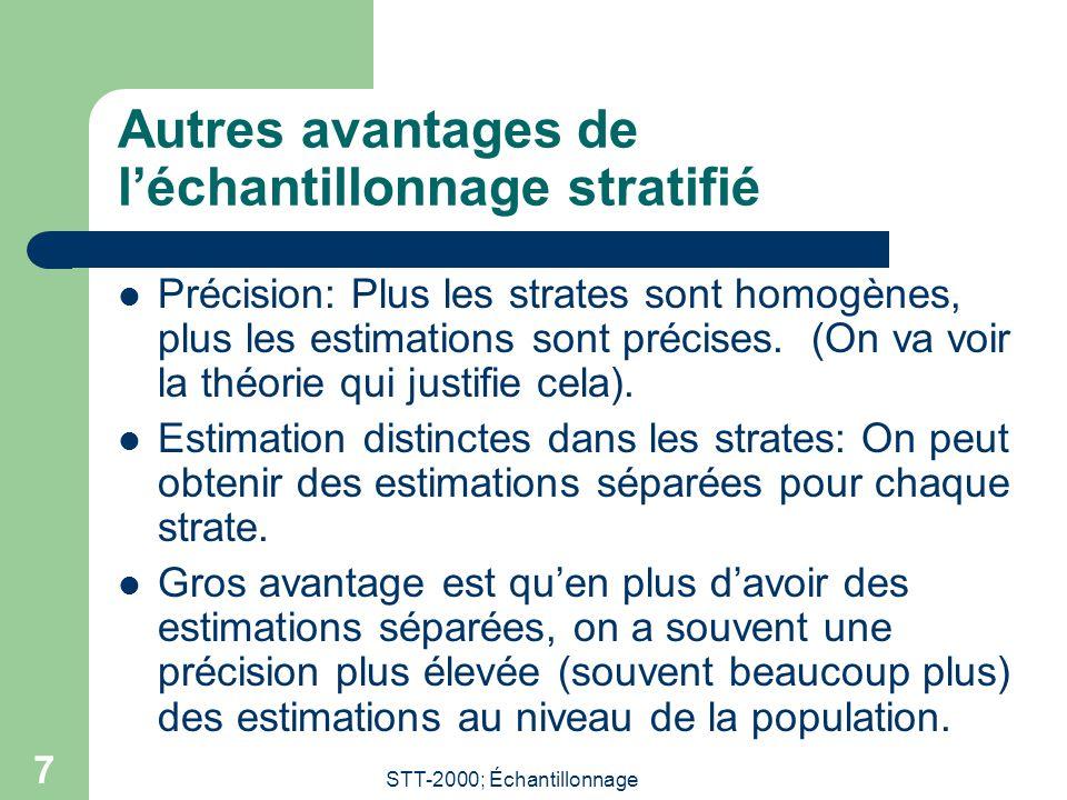 STT-2000; Échantillonnage 7 Autres avantages de l'échantillonnage stratifié  Précision: Plus les strates sont homogènes, plus les estimations sont pr