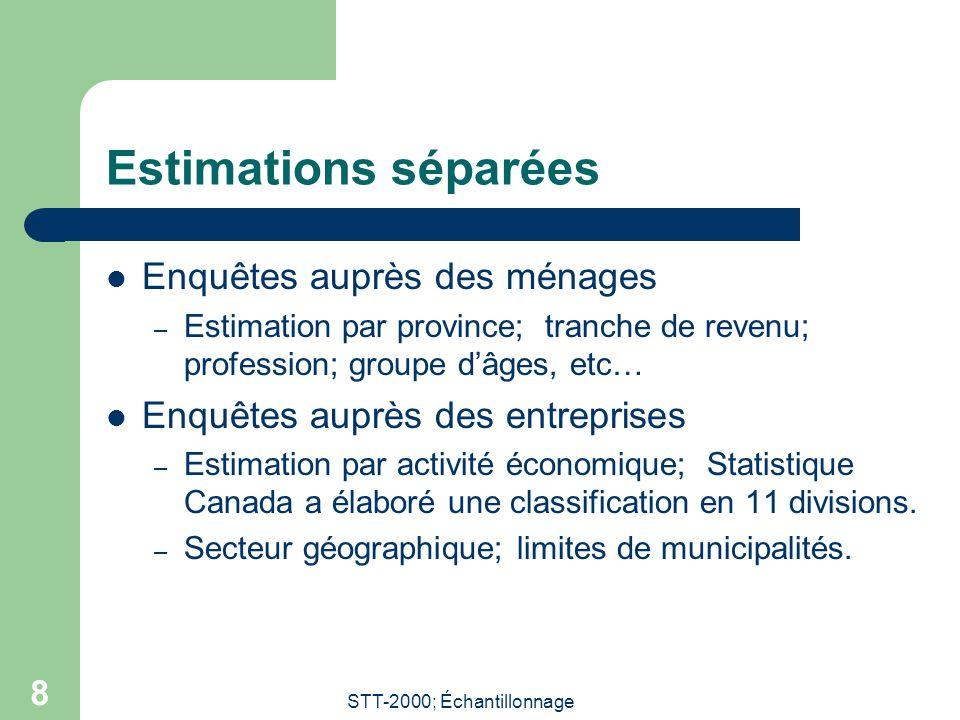 STT-2000; Échantillonnage 8 Estimations séparées  Enquêtes auprès des ménages – Estimation par province; tranche de revenu; profession; groupe d'âges