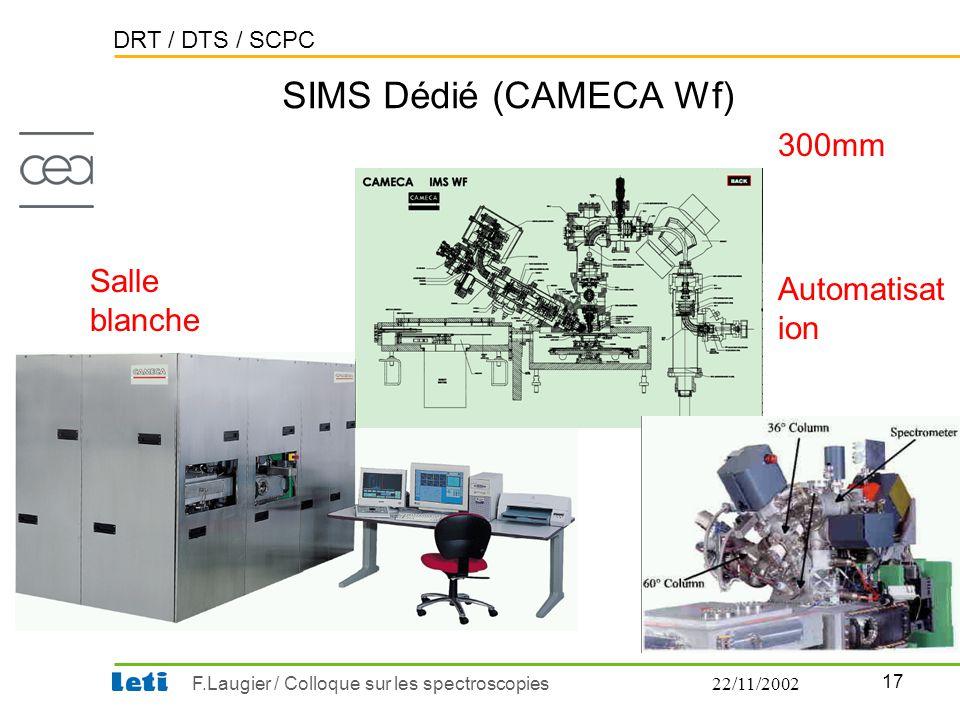 DRT / DTS / SCPC 17 F.Laugier / Colloque sur les spectroscopies22/11/2002 SIMS Dédié (CAMECA Wf) Salle blanche 300mm Automatisat ion
