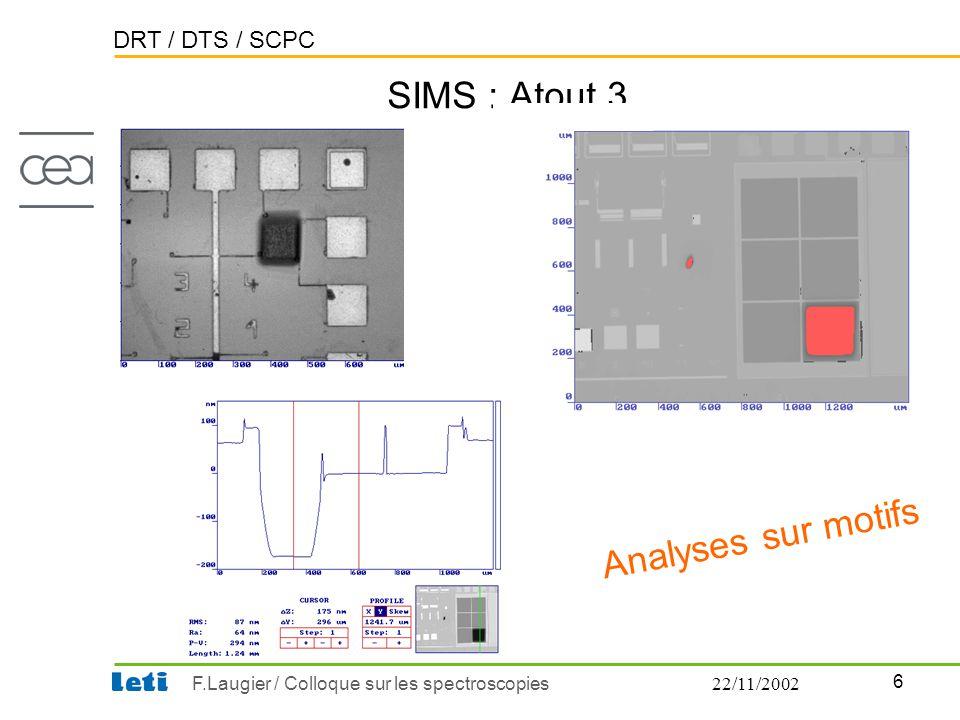 DRT / DTS / SCPC 6 F.Laugier / Colloque sur les spectroscopies22/11/2002 SIMS : Atout 3 Analyses sur motifs