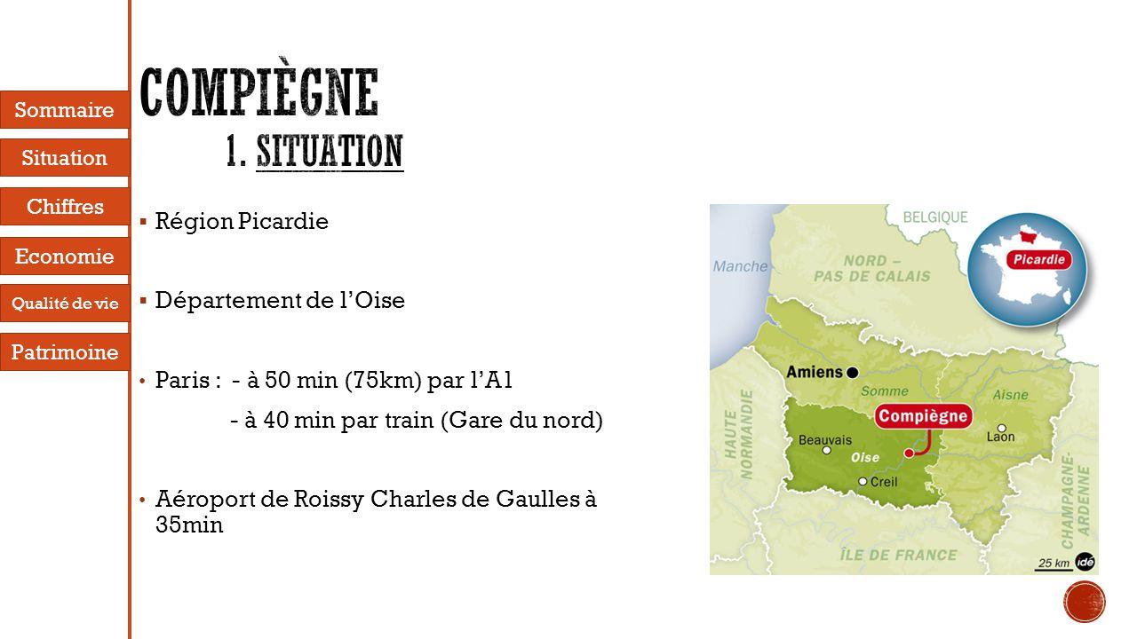  Région Picardie  Département de l'Oise • Paris : - à 50 min (75km) par l'A1 - à 40 min par train (Gare du nord) • Aéroport de Roissy Charles de Gaulles à 35min Sommaire Situation Economie Chiffres Patrimoine Qualité de vie