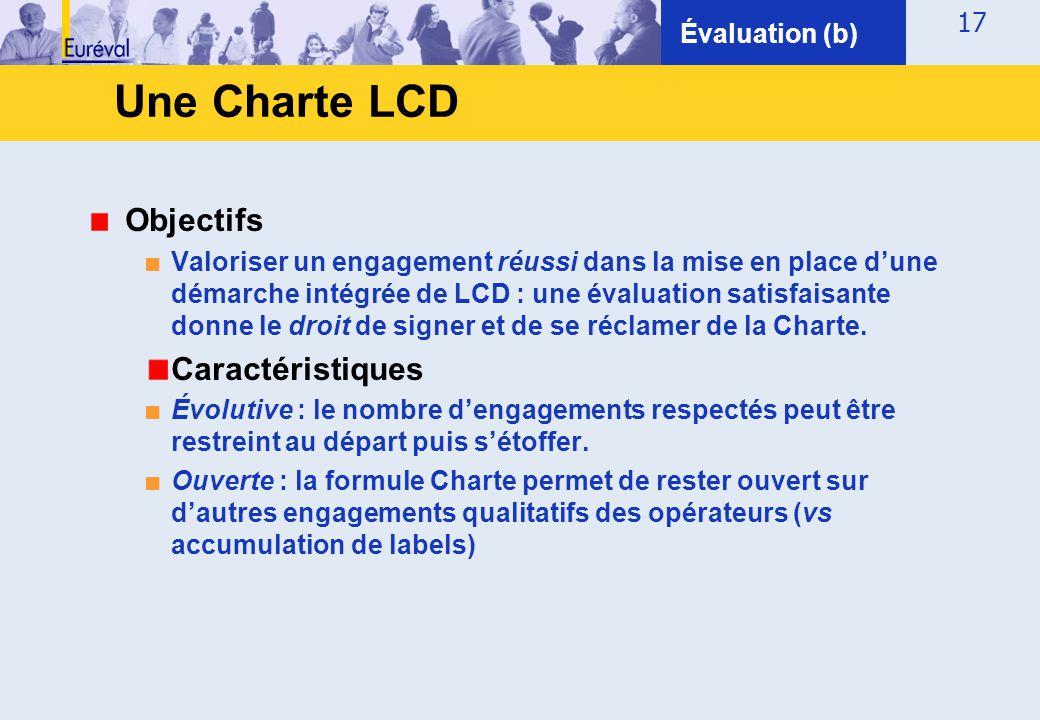 17 Objectifs ■ Valoriser un engagement réussi dans la mise en place d'une démarche intégrée de LCD : une évaluation satisfaisante donne le droit de si