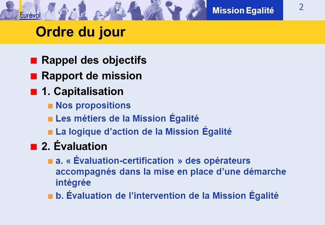 2 Rappel des objectifs Rapport de mission 1. Capitalisation ■ Nos propositions ■ Les métiers de la Mission Égalité ■ La logique d'action de la Mission