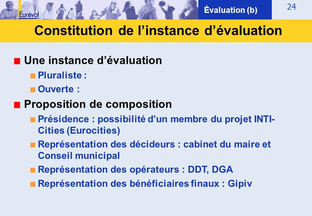 24 Constitution de l'instance d'évaluation Évaluation (b) Une instance d'évaluation ■ Pluraliste : ■ Ouverte : Proposition de composition ■ Présidence