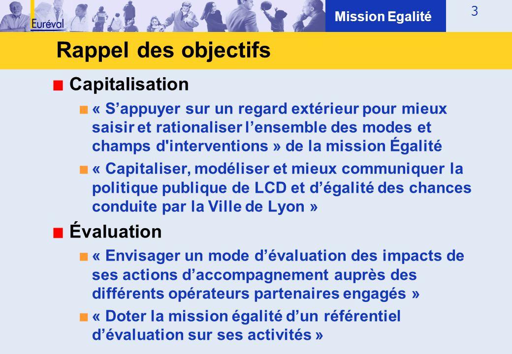 3 Capitalisation ■ « S'appuyer sur un regard extérieur pour mieux saisir et rationaliser l'ensemble des modes et champs d'interventions » de la missio