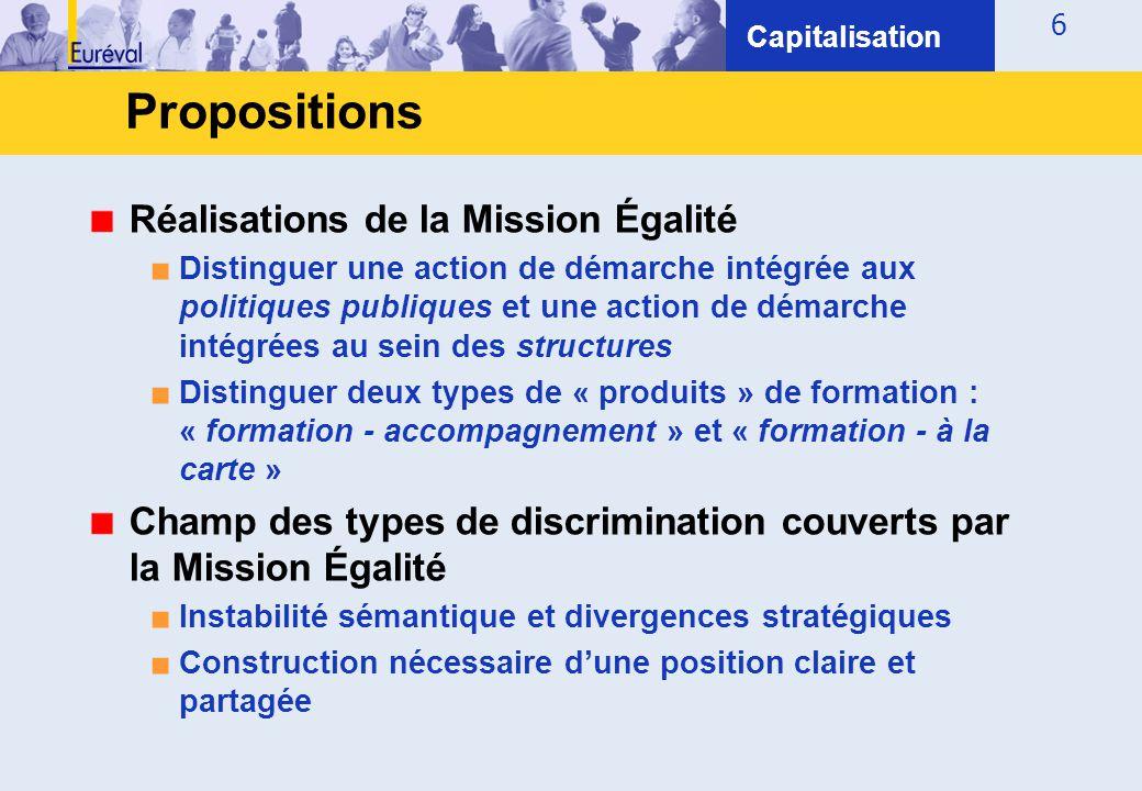 6 Propositions Capitalisation Réalisations de la Mission Égalité ■ Distinguer une action de démarche intégrée aux politiques publiques et une action d