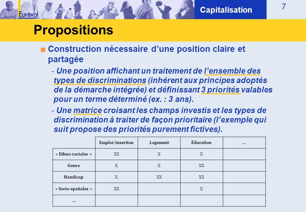 7 Propositions Capitalisation ■ Construction nécessaire d'une position claire et partagée - Une position affichant un traitement de l'ensemble des typ