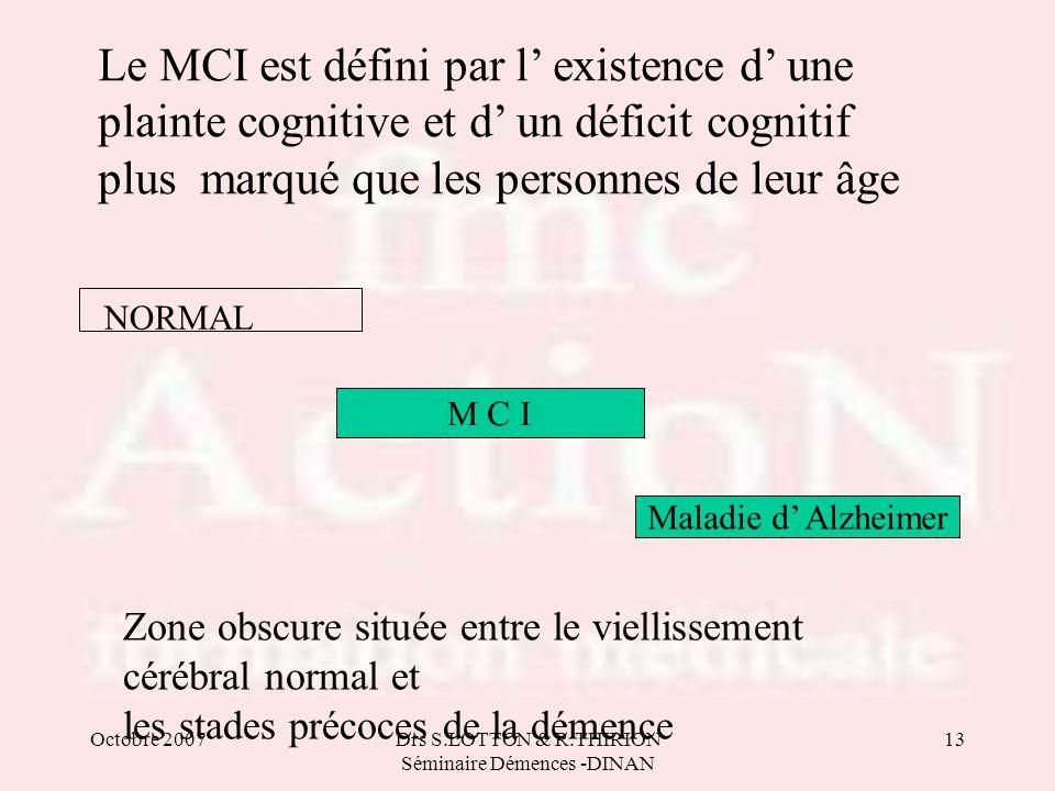 Octobre 2007Drs S.LOTTON & R.THIRION Séminaire Démences -DINAN 13 Le MCI est défini par l' existence d' une plainte cognitive et d' un déficit cogniti