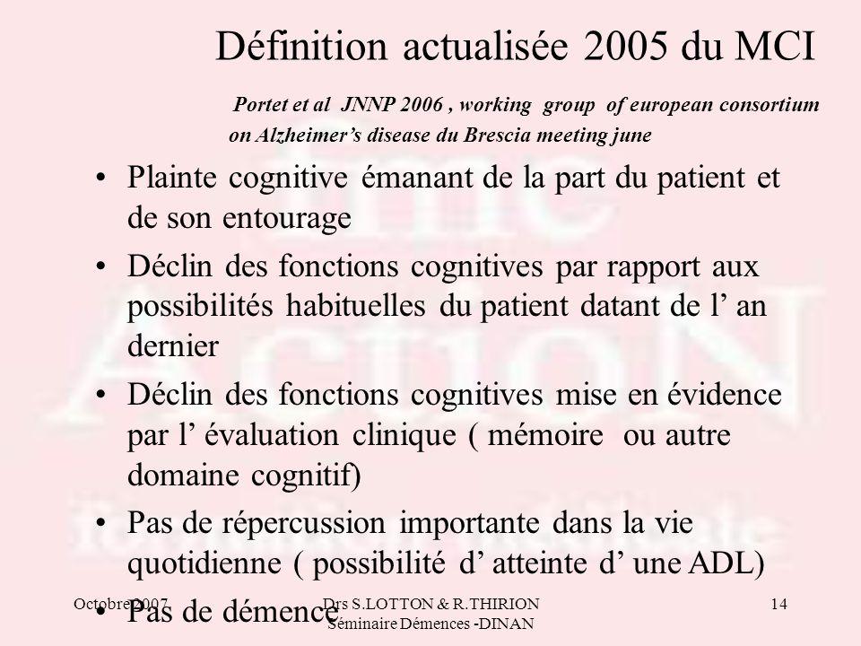 Octobre 2007Drs S.LOTTON & R.THIRION Séminaire Démences -DINAN 14 Définition actualisée 2005 du MCI Portet et al JNNP 2006, working group of european