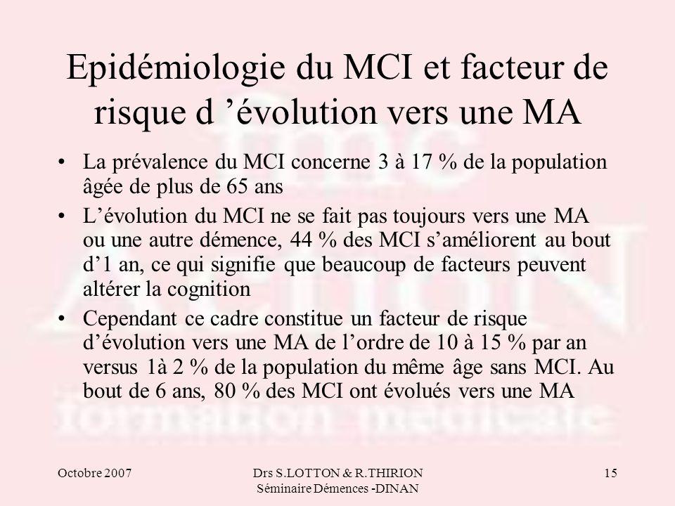 Octobre 2007Drs S.LOTTON & R.THIRION Séminaire Démences -DINAN 15 Epidémiologie du MCI et facteur de risque d 'évolution vers une MA •La prévalence du