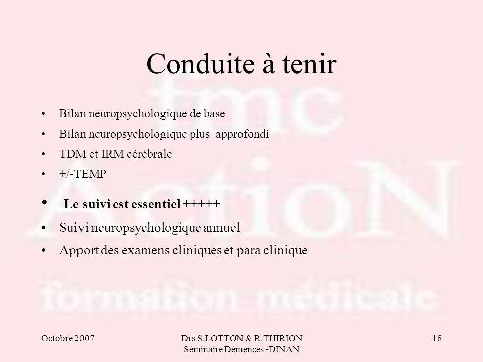 Octobre 2007Drs S.LOTTON & R.THIRION Séminaire Démences -DINAN 18 Conduite à tenir •Bilan neuropsychologique de base •Bilan neuropsychologique plus ap