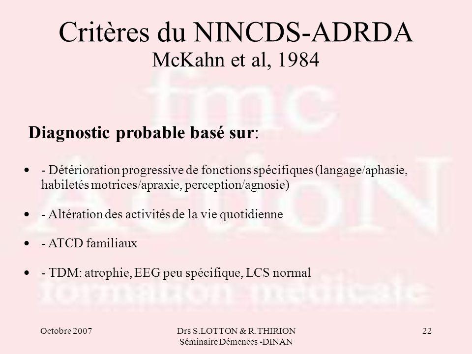 Octobre 2007Drs S.LOTTON & R.THIRION Séminaire Démences -DINAN 22 Critères du NINCDS-ADRDA McKahn et al, 1984 Diagnostic probable basé sur: • - Détéri