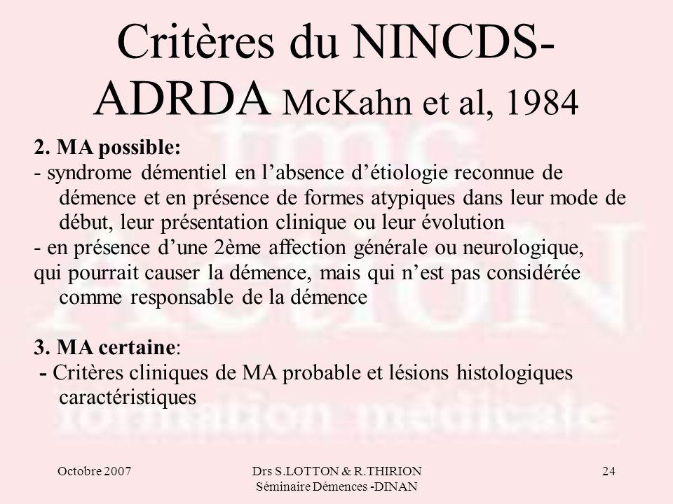 Octobre 2007Drs S.LOTTON & R.THIRION Séminaire Démences -DINAN 24 Critères du NINCDS- ADRDA McKahn et al, 1984 2. MA possible: - syndrome démentiel en