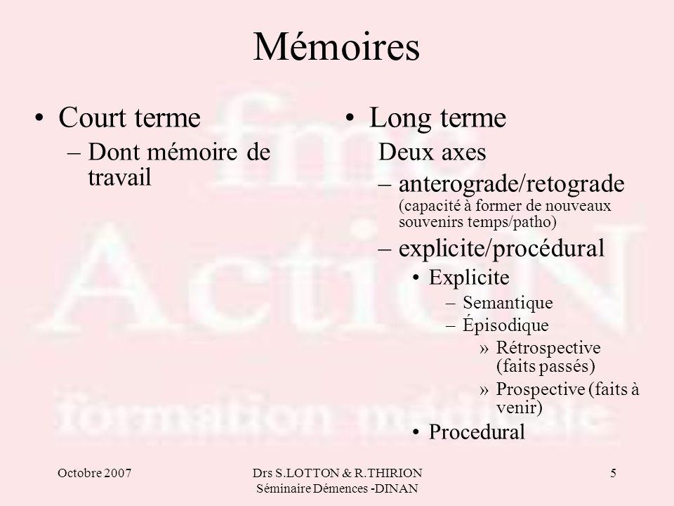 Octobre 2007Drs S.LOTTON & R.THIRION Séminaire Démences -DINAN 5 Mémoires •Court terme –Dont mémoire de travail •Long terme Deux axes –anterograde/ret