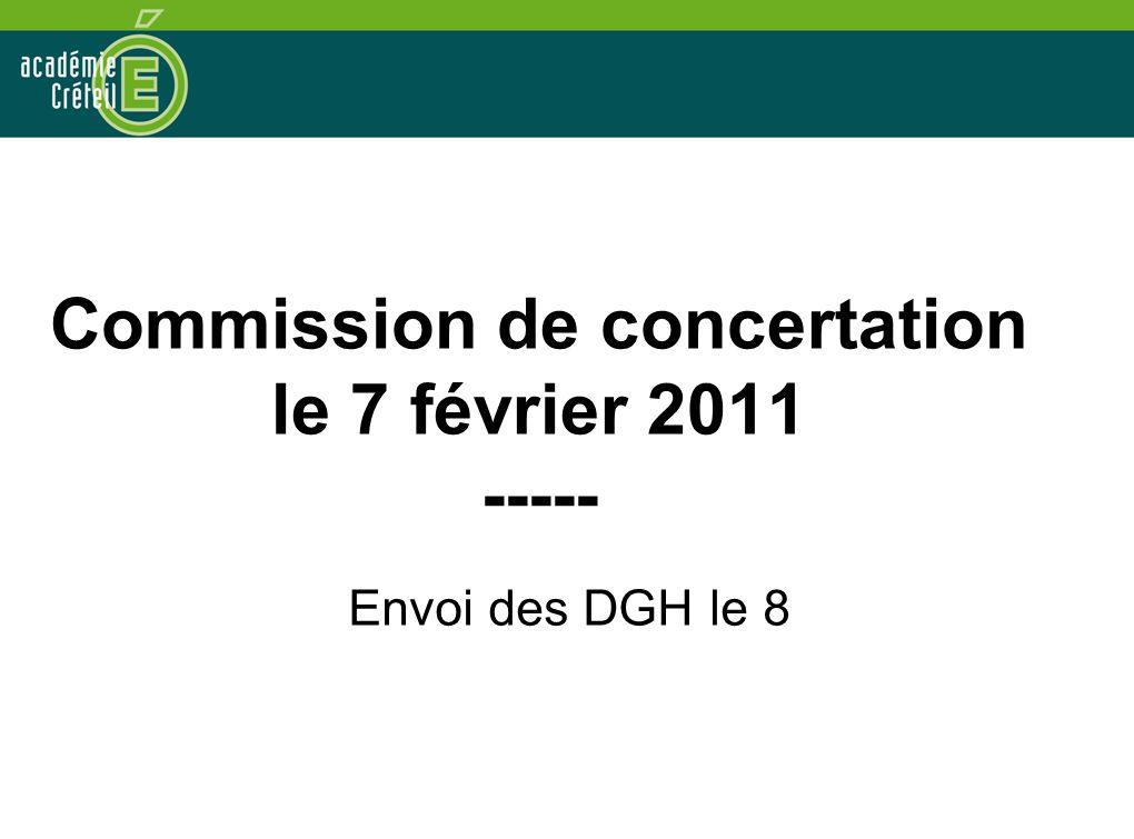 Commission de concertation le 7 février 2011 ----- Envoi des DGH le 8