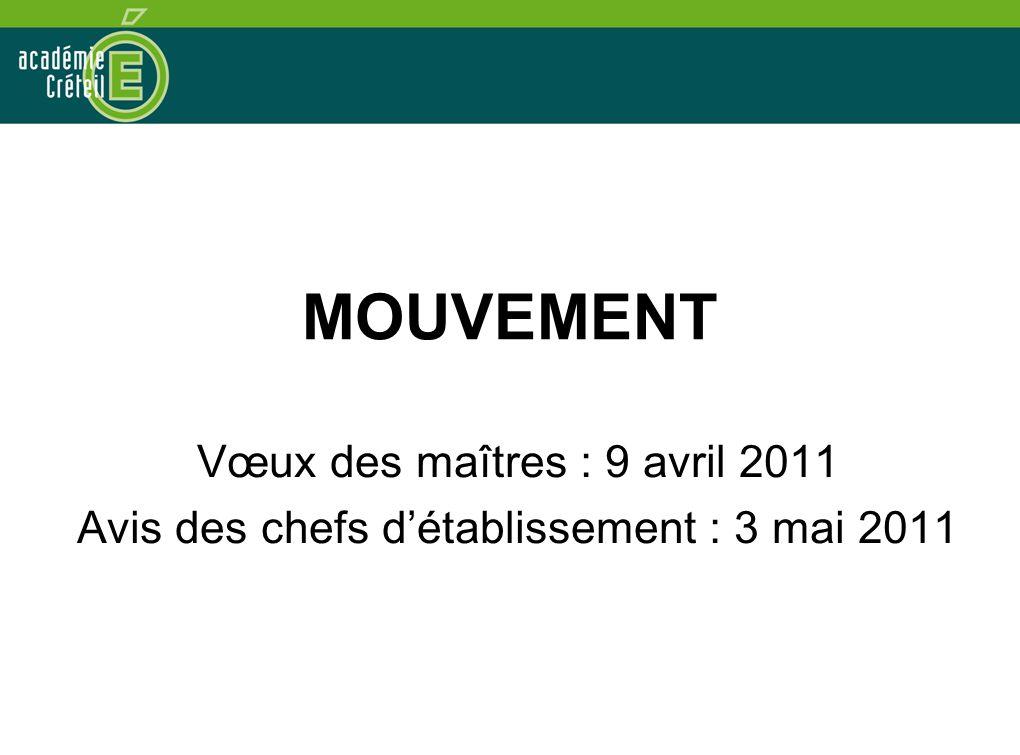 MOUVEMENT Vœux des maîtres : 9 avril 2011 Avis des chefs d'établissement : 3 mai 2011