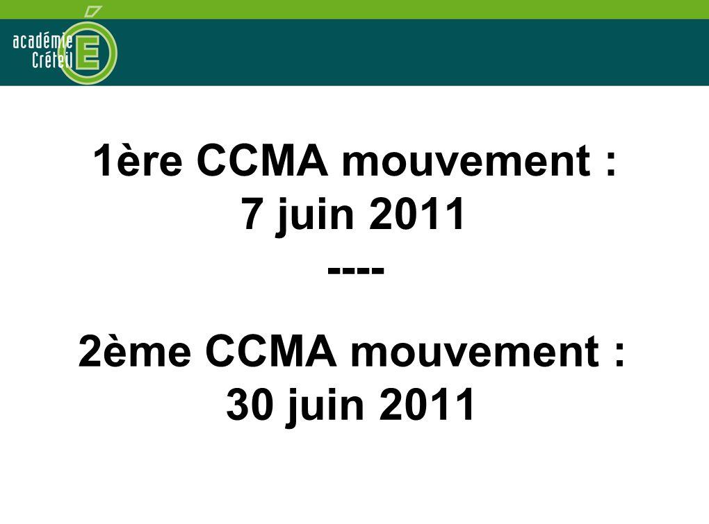 2ème CCMA mouvement : 30 juin 2011 1ère CCMA mouvement : 7 juin 2011 ----