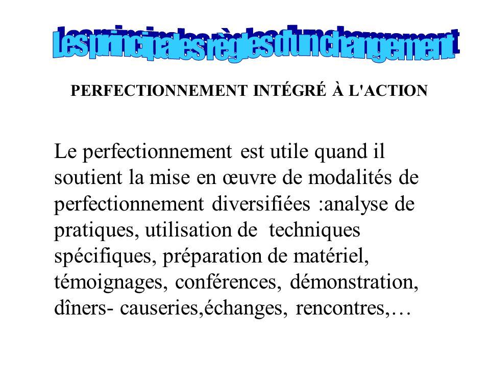 PERFECTIONNEMENT INTÉGRÉ À L'ACTION Le perfectionnement est utile quand il soutient la mise en œuvre de modalités de perfectionnement diversifiées :an