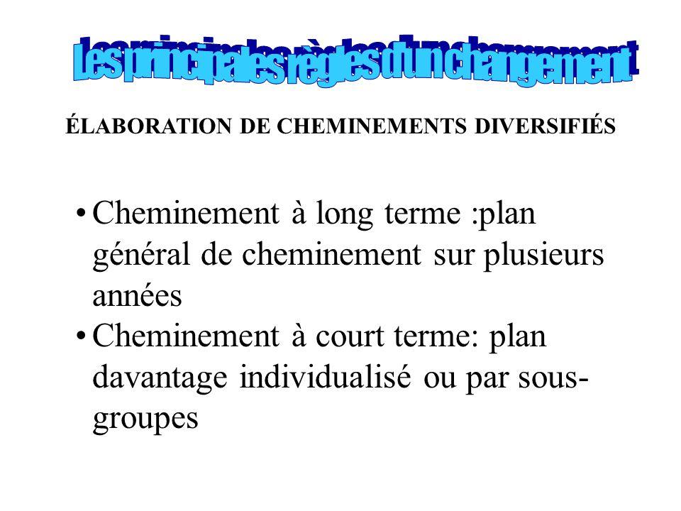 ÉLABORATION DE CHEMINEMENTS DIVERSIFIÉS •Cheminement à long terme :plan général de cheminement sur plusieurs années •Cheminement à court terme: plan d