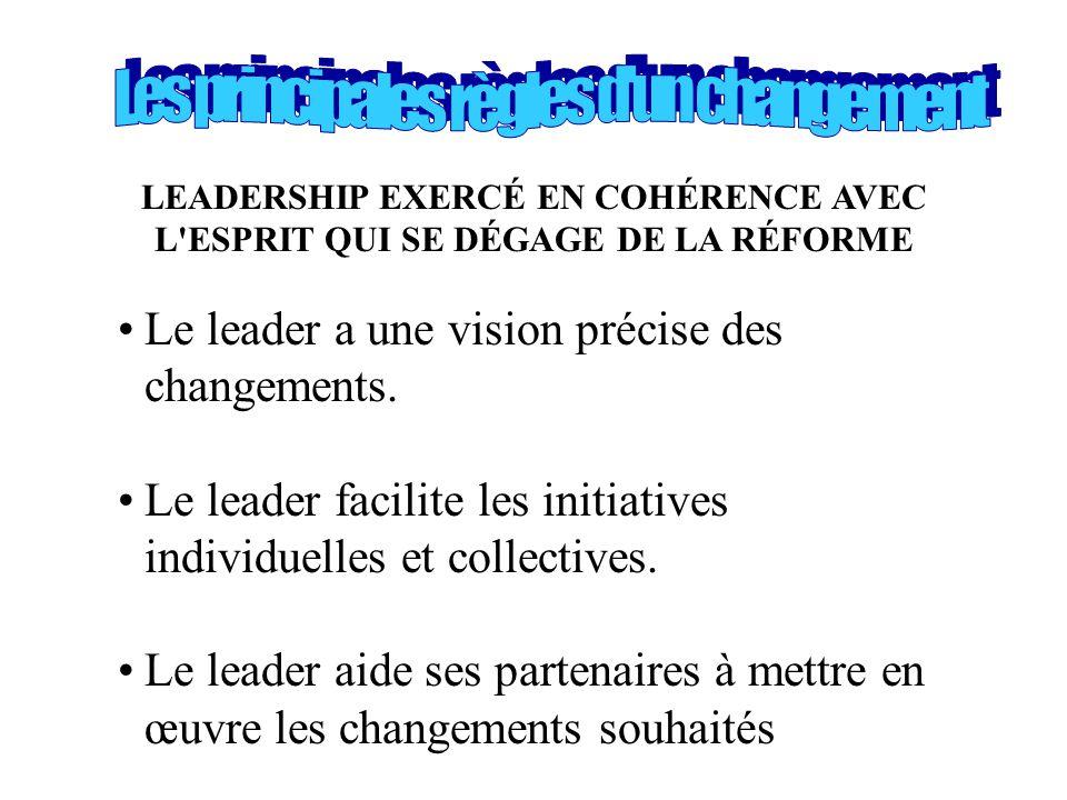LEADERSHIP EXERCÉ EN COHÉRENCE AVEC L'ESPRIT QUI SE DÉGAGE DE LA RÉFORME •Le leader a une vision précise des changements. •Le leader facilite les init
