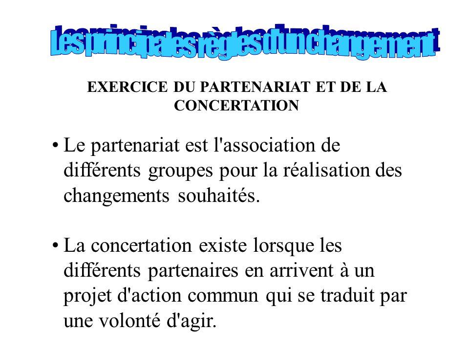 EXERCICE DU PARTENARIAT ET DE LA CONCERTATION •Le partenariat est l'association de différents groupes pour la réalisation des changements souhaités. •