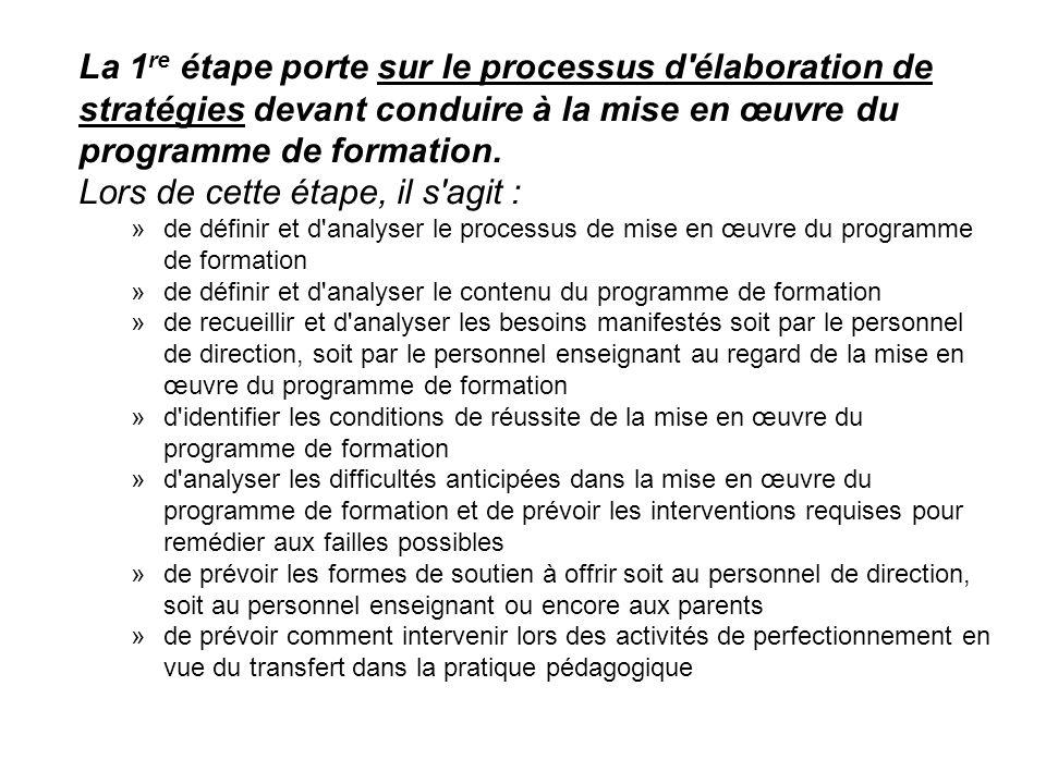 La 1 re étape porte sur le processus d'élaboration de stratégies devant conduire à la mise en œuvre du programme de formation. Lors de cette étape, il