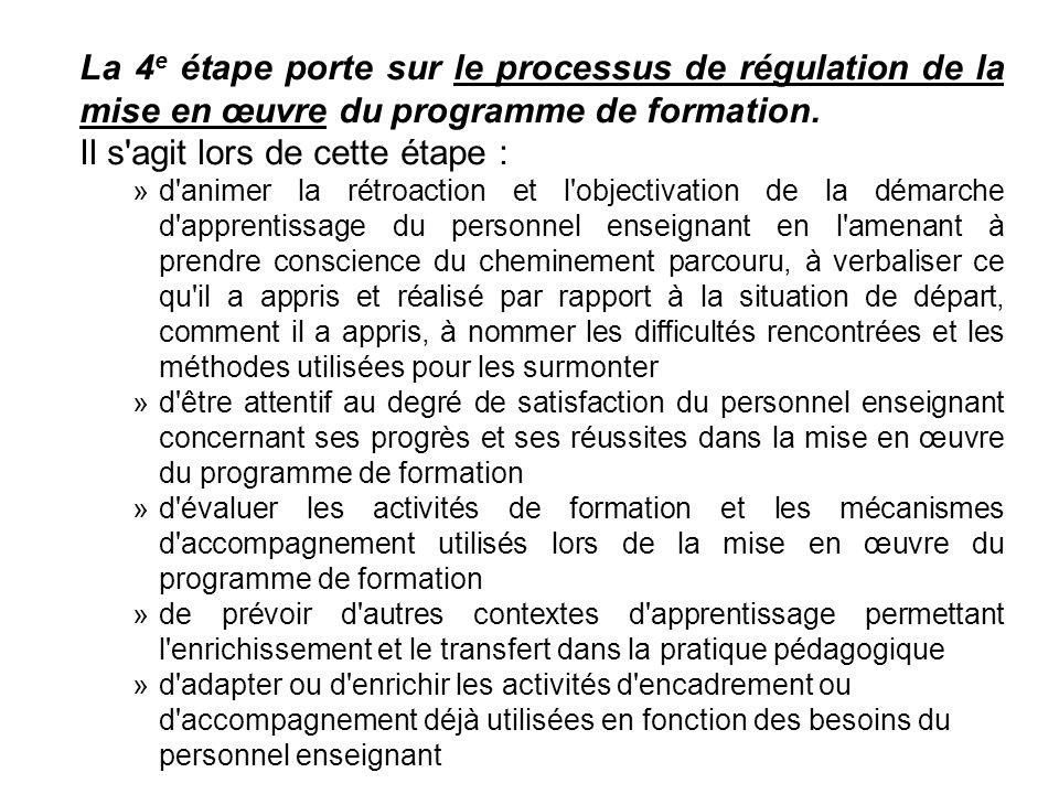 La 4 e étape porte sur le processus de régulation de la mise en œuvre du programme de formation. Il s'agit lors de cette étape : »d'animer la rétroact