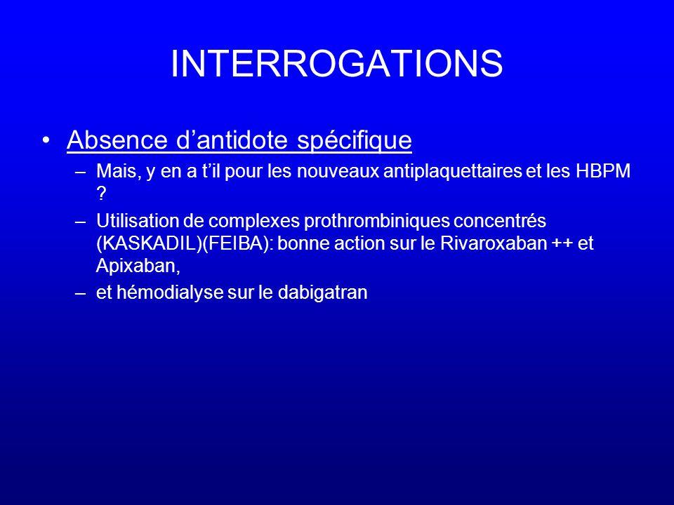 INTERROGATIONS •Absence d'antidote spécifique –Mais, y en a t'il pour les nouveaux antiplaquettaires et les HBPM .