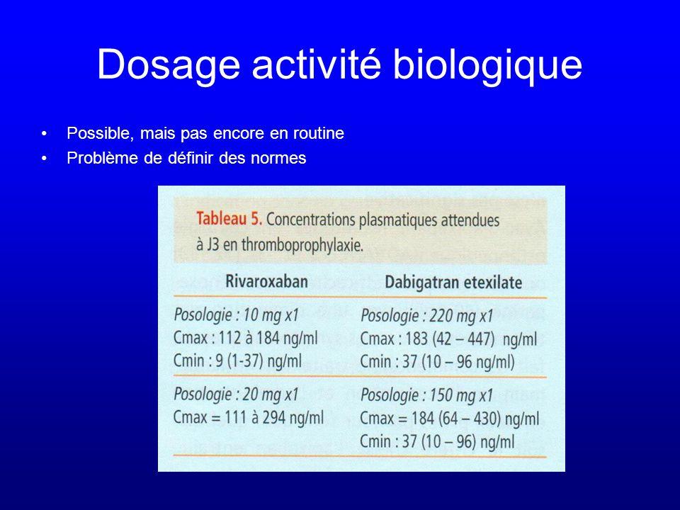 Dosage activité biologique •Possible, mais pas encore en routine •Problème de définir des normes