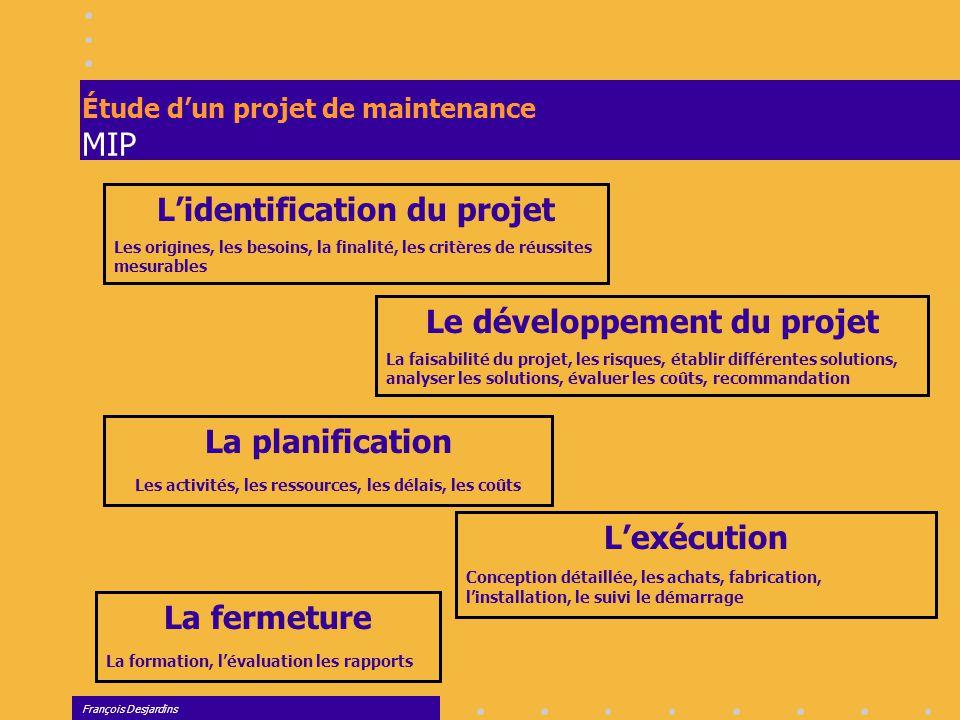 François Desjardins Planification d'une production unitaire Représentation graphique Graphique CPM ou PERT ou potentiel C'est un outil visuel qui permet de présenter un projet et d'en assurer le suivi.
