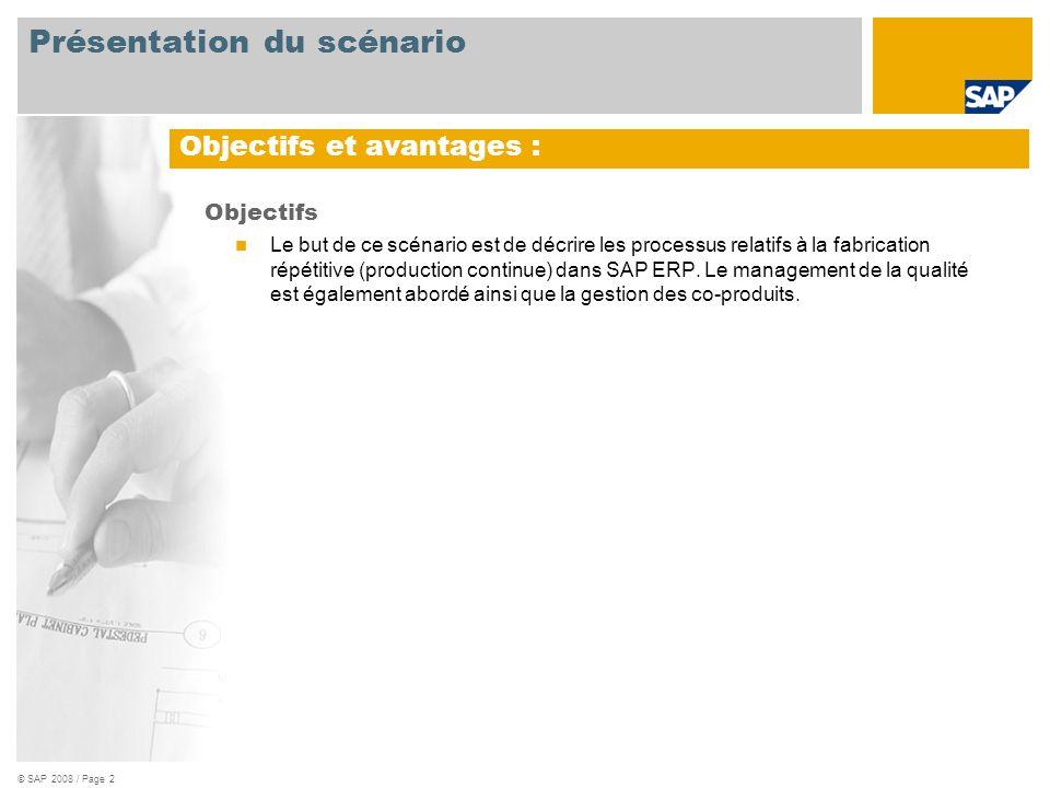 © SAP 2008 / Page 2 Objectifs  Le but de ce scénario est de décrire les processus relatifs à la fabrication répétitive (production continue) dans SAP